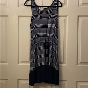 Navy blue striped tank dress